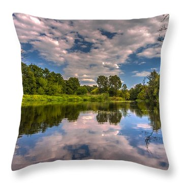 Slow River Reflections Throw Pillow