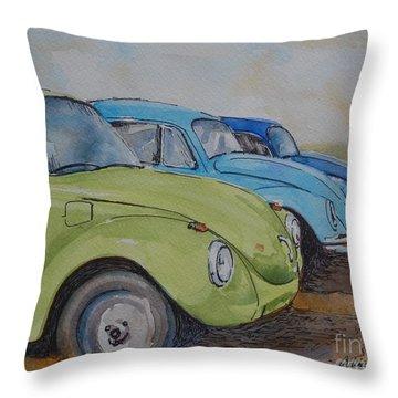 Slugbug Green Throw Pillow by Gretchen Bjornson