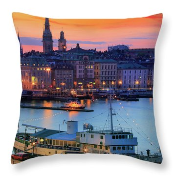 Slussen By Night Throw Pillow by Inge Johnsson