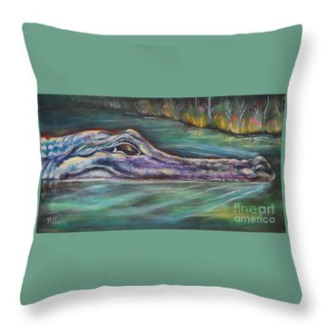 Sly Gator Throw Pillow by Patricia Piffath