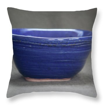 Small Blue Ceramic Bowl Throw Pillow by Suzanne Gaff