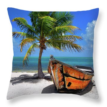 Small Boat And Palm Tree On White Sandy Beach In The Florida Keys Throw Pillow