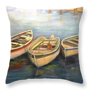 Small Boats Throw Pillow