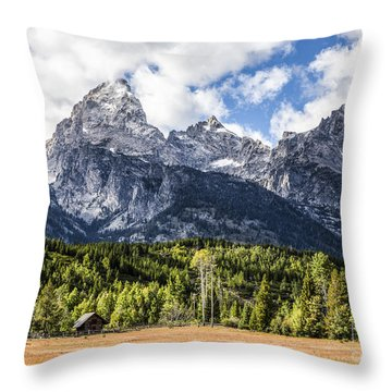 Small Cabin Below Big Mountain Throw Pillow
