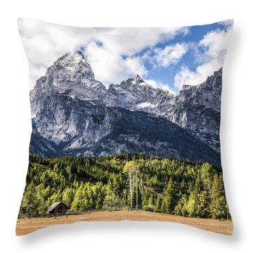 Small Cabin Below Big Mountain Throw Pillow