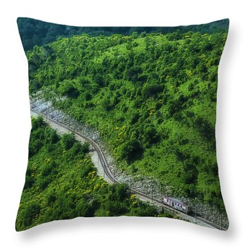 Throw Pillow featuring the photograph Small Casella Train Green Landscape by Enrico Pelos