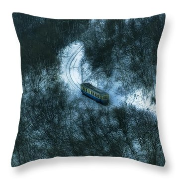 Throw Pillow featuring the photograph Small Casella Train Snow Landscape by Enrico Pelos