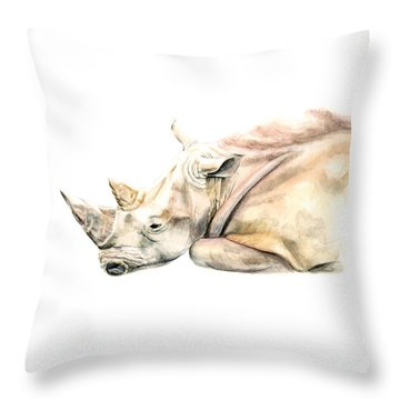 Throw Pillow featuring the painting Small Colour Rhino by Elizabeth Lock