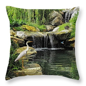 Small Creek Waterfall With Wildlife Throw Pillow