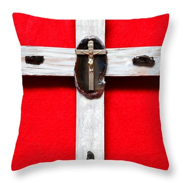 Throw Pillow featuring the photograph Small Cross Vi by M Diane Bonaparte