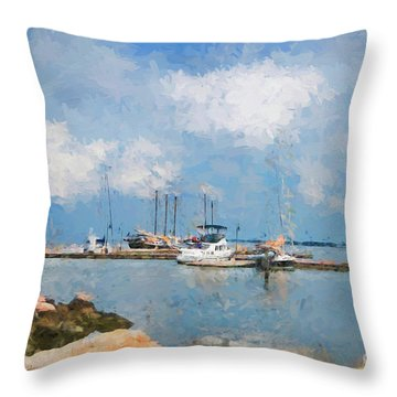 Small Dock With Boats Throw Pillow
