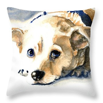 Small Dog With Tan Short Hair  Throw Pillow