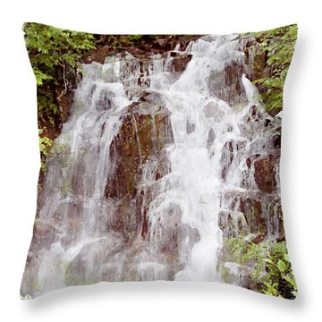 Small Falls On Mt. Ranier Throw Pillow by Peter J Sucy