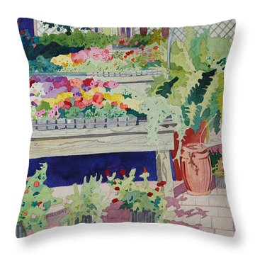 Small Garden Scene Throw Pillow