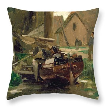 Small Harbor With A Boat  Throw Pillow by Thomas Ludwig Herbst