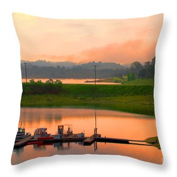 Small Lake Boat Dock Throw Pillow