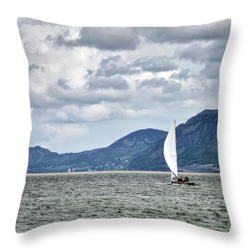 Small Leisure Sailing Boat On Menai Straits In Anglesey Wales Wi Throw Pillow