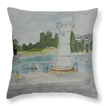Small Lighthouse One Belmore Basin Throw Pillow