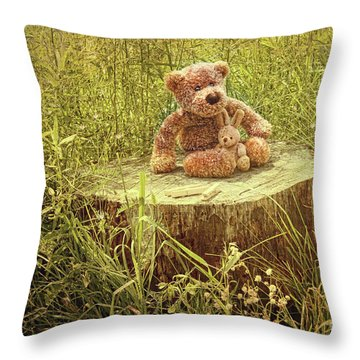 Small Little Bears On Old Wooden Stump  Throw Pillow by Sandra Cunningham