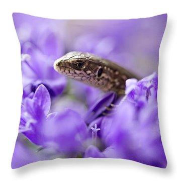Small Lizard Throw Pillow by Jaroslaw Blaminsky