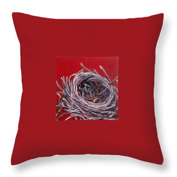 Small Nest On Red Throw Pillow
