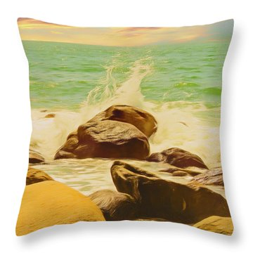 Small Ocean Waves,large Rocks. Throw Pillow