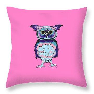 Small Owl Pink Throw Pillow