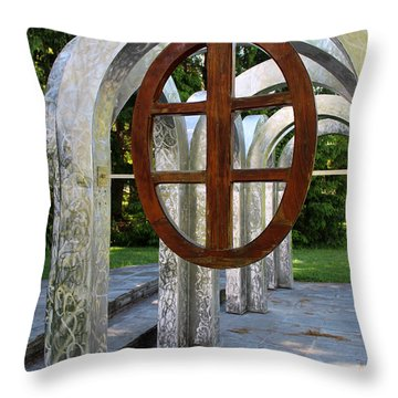 Small Park With Arches Throw Pillow