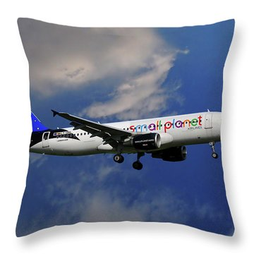 Small Planet Airbus A320-214 Throw Pillow