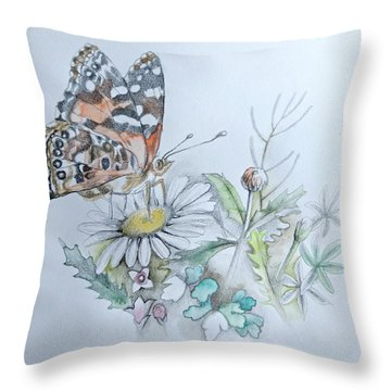 Throw Pillow featuring the drawing Small Pleasures by Rose Legge