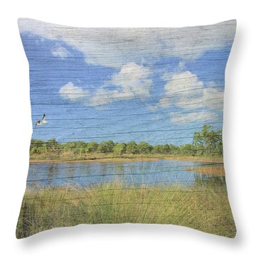 Small Pond With Weathered Wood Throw Pillow by Rosalie Scanlon