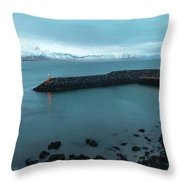 Throw Pillow featuring the photograph Small Port Near Snaefellsjokull Mountain, Iceland by Dubi Roman