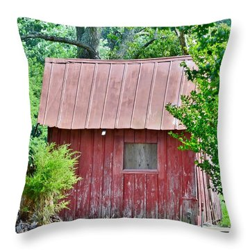 Small Red Barn - Lewes Delaware Throw Pillow