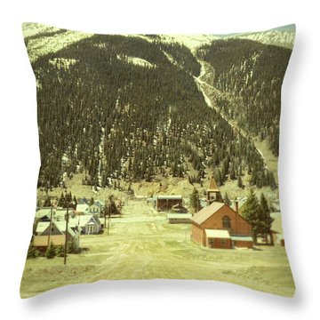 Small Rocky Mountain Town Throw Pillow by Jill Battaglia