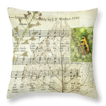 Throw Pillow featuring the mixed media Small Tortoiseshell Butterfly Collage by Jan Bickerton