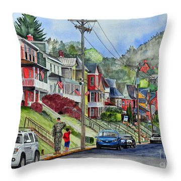 Small Town, America Throw Pillow
