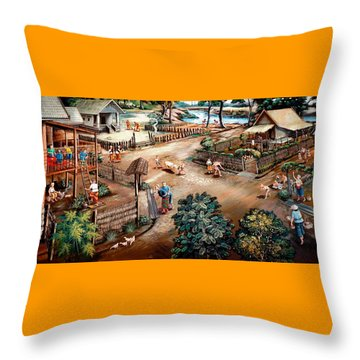 Small Town Community Throw Pillow