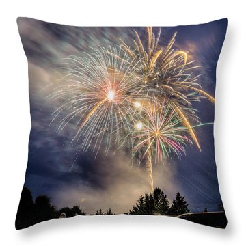 Small Town Fireworks Show Throw Pillow by Alan Raasch