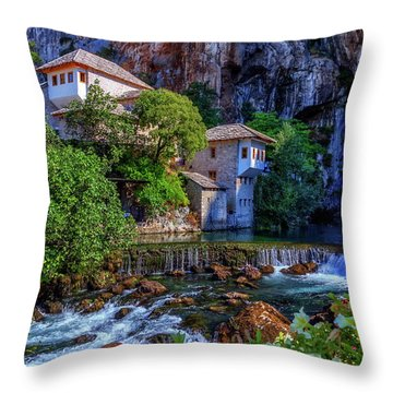 Small Village Blagaj On Buna Waterfall, Bosnia And Herzegovina Throw Pillow by Elenarts - Elena Duvernay photo