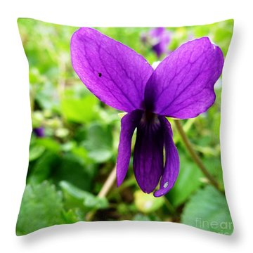Small Violet Flower Throw Pillow by Jean Bernard Roussilhe