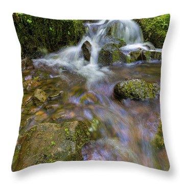 Small Waterfalls Along Wahkeena Creek Throw Pillow