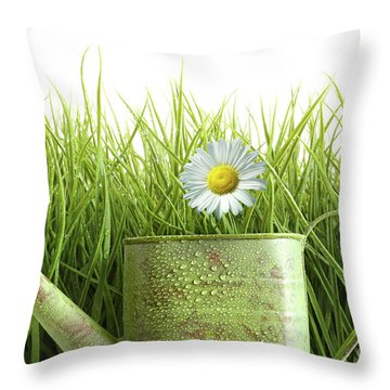 Small Watering Can With Tall Grass Against White Throw Pillow