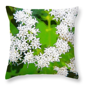 Small White Flowers Throw Pillow by Craig Walters