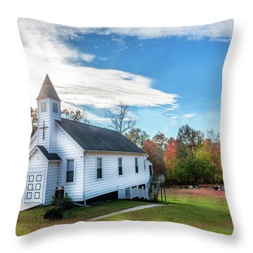 Small Wooden Church In The Countryside During Autumn Throw Pillow