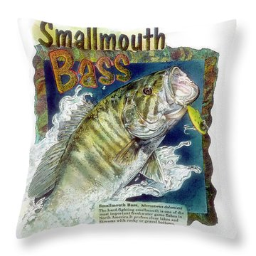 Throw Pillow featuring the drawing Smallmouth Bass by John Dyess