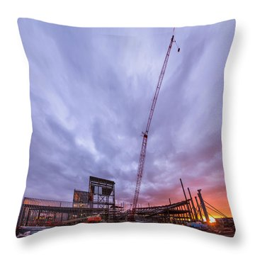 Smart Financial Centre Construction Sunset Sugar Land Texas 10 26 2015 Throw Pillow by Micah Goff