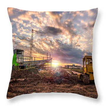 Smart Financial Centre Construction Sunset Sugar Land Texas 11 21 2015 Throw Pillow by Micah Goff