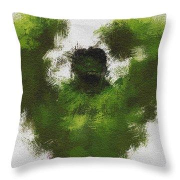 Smashing Green Throw Pillow by Miranda Sether
