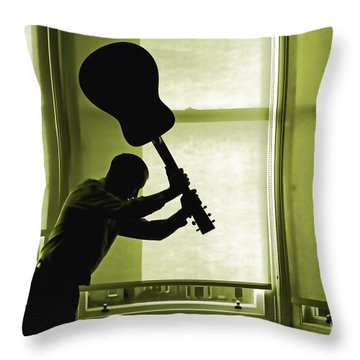 Throw Pillow featuring the photograph Smashing Up A Guitar by Craig B