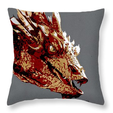 Smaug The Unassessably Wealthy Throw Pillow by Kayleigh Semeniuk